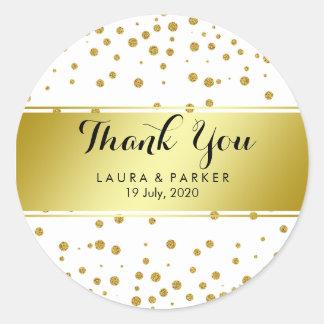 GoldImitat-Folien-Glitter danken Ihnen um Wedding Runder Aufkleber