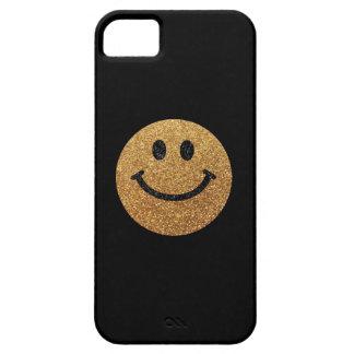 GoldImitat-Glitter-Smiley Etui Fürs iPhone 5