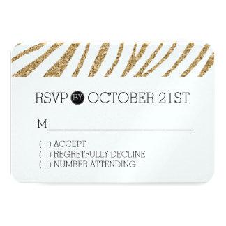 GoldImitat-Glitterzebra-Druck UAWG 8,9 X 12,7 Cm Einladungskarte
