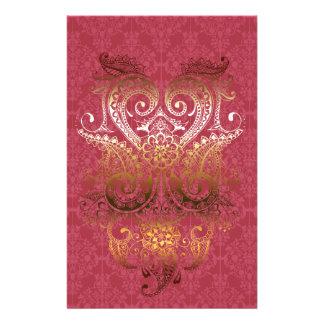 Goldindische Verzierung Damast pinkfarbenes delux Büropapier