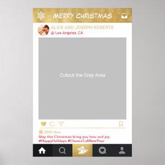 GoldInstagram Rahmen-WeihnachtsParty-Foto-Stand Poster