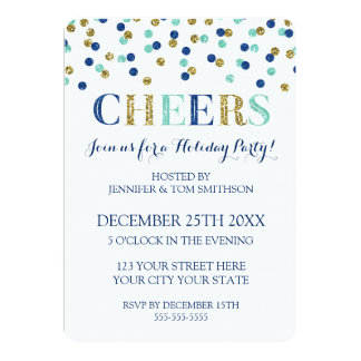 Goldjubelt blauer GlitterConfetti WeihnachtsParty Karte