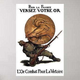 Goldkämpfe für Sieg -- Französisches WW1 Poster