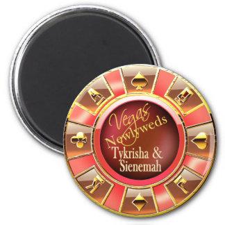 Goldkasino-Chip-Bevorzugung Las Vegass deluxe Runder Magnet 5,1 Cm