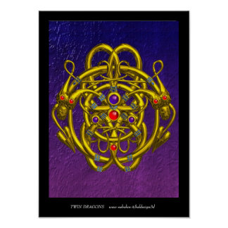 GOLDkeltische KNOTEN MIT DOPPELdrachen Poster