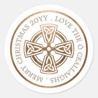 Goldkeltisches Kreuz-Iren-Weihnachten Runder Aufkleber