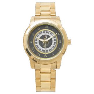 Goldklavierkreismusikanmerkungs-Armbanduhr Armbanduhr