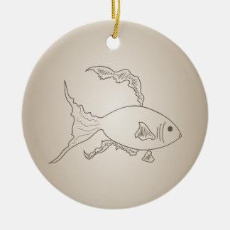 Goldkleine Fische Rundes Keramik Ornament