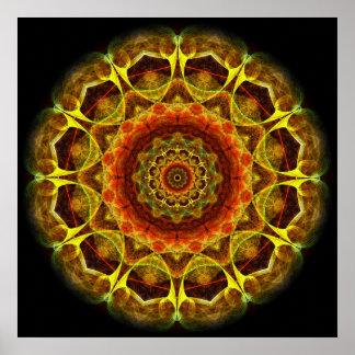 Goldknopf-Mandala Poster