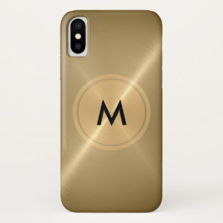 Goldknopf und Bronze-Edelstahl-Metall iPhone X Hülle