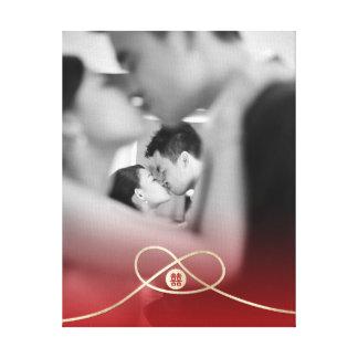 Goldknoten-Doppelt-Glück-Hochzeits-Foto-Leinwand Leinwanddruck