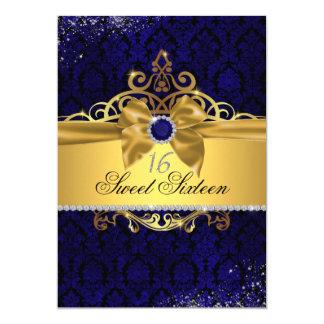 Goldkönigliches Blau-Damast 16. Geburtstag laden Karte