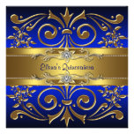 GoldKönigsblau Quinceanera Einladungen