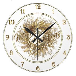GoldKranz-frohe Weihnacht-Uhr Große Wanduhr