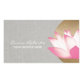 Goldkreis-Lotos-Blumen-Imitat-Leinensalon u. Visitenkarten