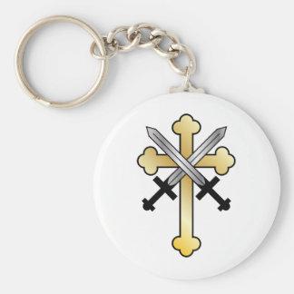 Goldkreuz mit gekreuzten Schwertern Standard Runder Schlüsselanhänger