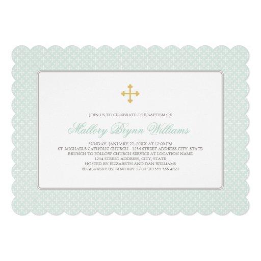 Goldkreuz-Muster der Taufe-Einladungs-  tadelloses Individuelle Ankündigungskarte