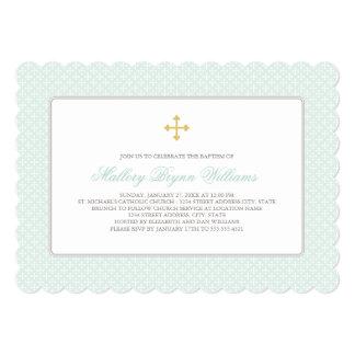 Goldkreuz-Muster der Taufe-Einladungs-| tadelloses Individuelle Ankündigungskarte
