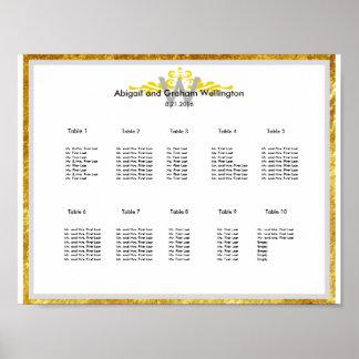 Goldkronen-Hochzeits-Sitzplatz-Diagramm Poster