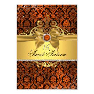 Goldkupferner Damast 16. Geburtstag laden ein Karte