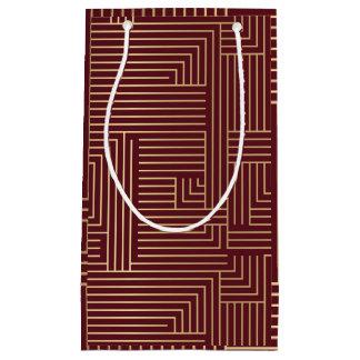 Goldlabyrinth und dunkelrote Geschenk-Tasche Kleine Geschenktüte