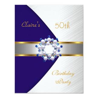 Goldlädt blaues Marine-Weiß 50. Geburtstags-Party Karte