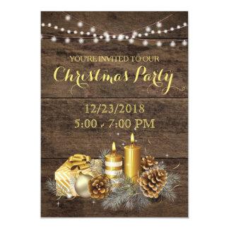 Goldland-rustikale WeihnachtsParty Einladung