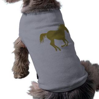 Goldlaufendes Pferd auf Heide-Grau T-Shirt