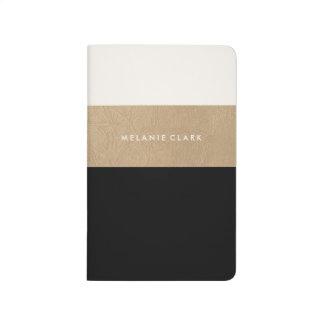 Goldleder und -SCHWARZES Taschennotizbuch