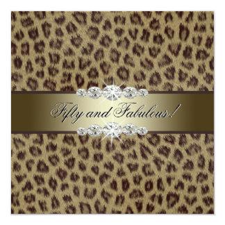 Goldleopard-50. Geburtstags-Party Karte