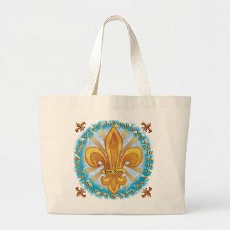 GoldLilien-individueller Name Taschen-Tasche Jumbo Stoffbeutel