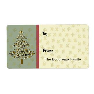 GoldLilien-Weihnachtsbaum-Geschenk-Aufkleber