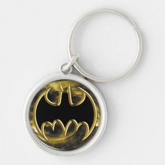 Goldlogo Batman-Symbol-| Silberfarbener Runder Schlüsselanhänger