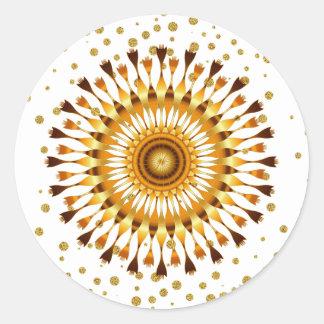 Goldlotos-Blume mit goldenem Confetti auf Weiß Runder Aufkleber