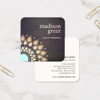 GoldLotusblumenMandalahölzerner natürlicher Quadratische Visitenkarte