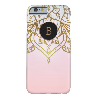 GoldMandala-Rosa-Pfirsich-schicke moderne Barely There iPhone 6 Hülle