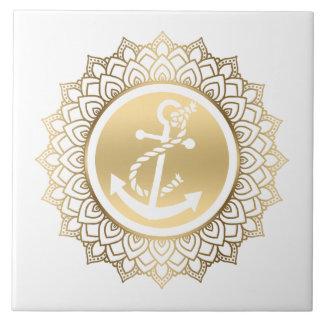 GoldMandala u. weißer Boots-Anker Keramikfliese