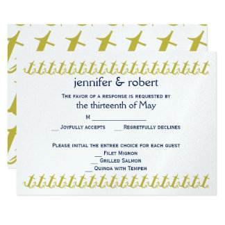 Goldmarine-Seeanker-Hochzeits-Wartekarte Karte