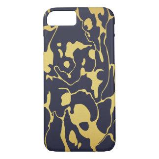 Goldmarmor mit Marine-Blau-Hintergrund iPhone 8/7 Hülle