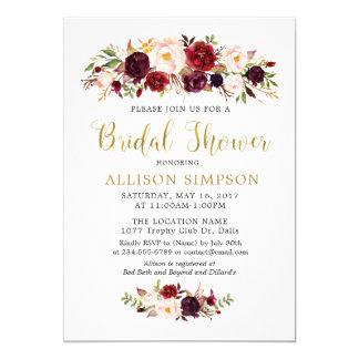 GoldMarsala Blumen BridalShower Einladungen