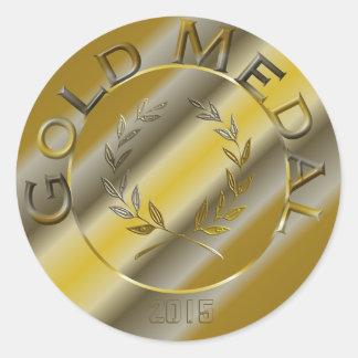 Goldmedaille mit Jahrwahl Runder Aufkleber