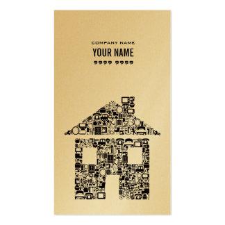 Goldmetallische Haus-Baugewerbe-Karte Visitenkarten Vorlage