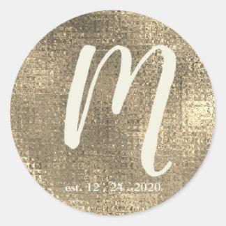 Goldmetallischer Hochzeits-Monogramm-Umschlag Runder Aufkleber