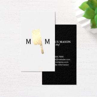 Goldmetallisches Metzger-Messer-Monogramm Visitenkarte