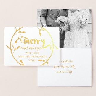 Goldmistelzweig-fröhliche und verheiratete folienkarte