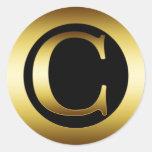 GOLDmonogramm-BUCHSTABE C Runder Aufkleber