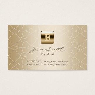 Goldmonogramm-Geo-Muster-Nagel-Kunst Visitenkarten