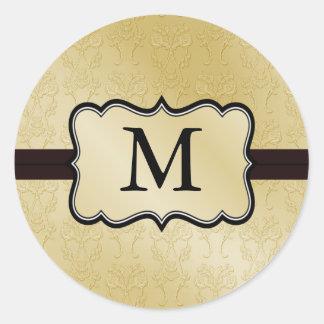 Goldmonogramm-Hochzeits-Aufkleber Runder Aufkleber