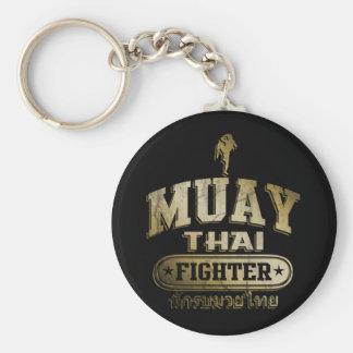 GoldMuay thailändischer Kämpfer Standard Runder Schlüsselanhänger