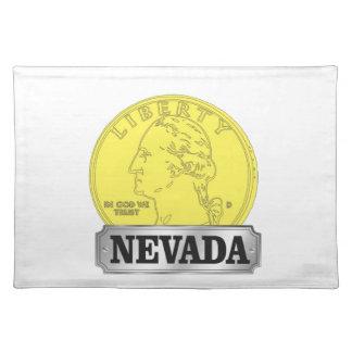 Goldmünze von Nevada Stofftischset